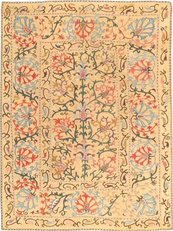 9: Antique Susani / Suzani Silk Embroidery from Uzbekis