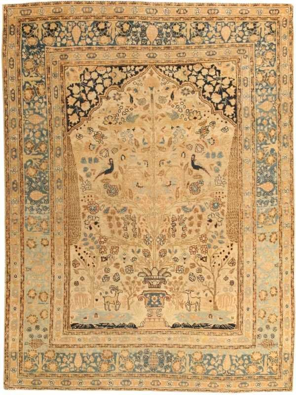 12: Antique Tabriz Persian Rug / Carpet 43187