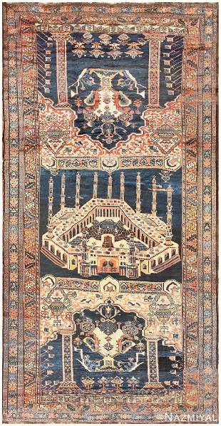 ANTIQUE PERSIAN MALAYER PICTORIAL MECCA RUG
