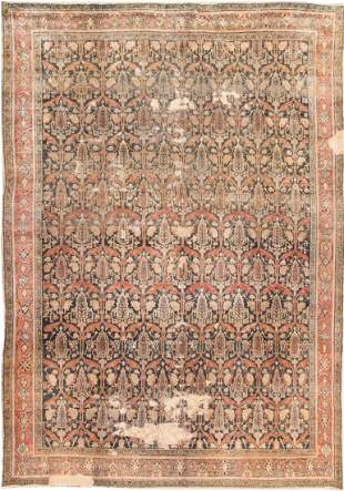 ANTIQUE PERSIAN BIBIKABAD RUG, 11 ft 8 in x 8 ft