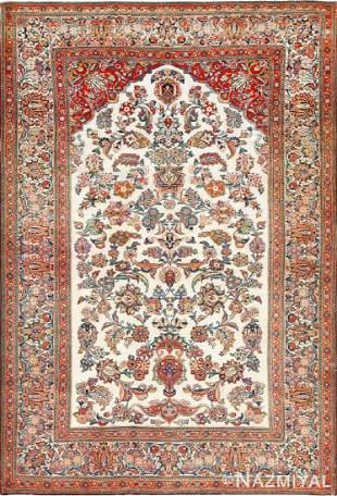 ANTIQUE PERSIAN WOOL AND SILK PRAYER DESIGN KASHAN