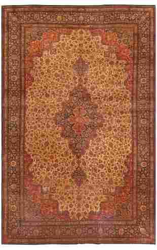 LARGE VINTAGE PERSIAN QUM RUG, 18 ft x 11 ft 7 in