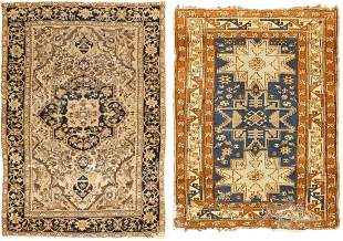 ANTIQUE PERSIAN FARAHAN SAROUK RUG + VINTAGE CAUCASIAN