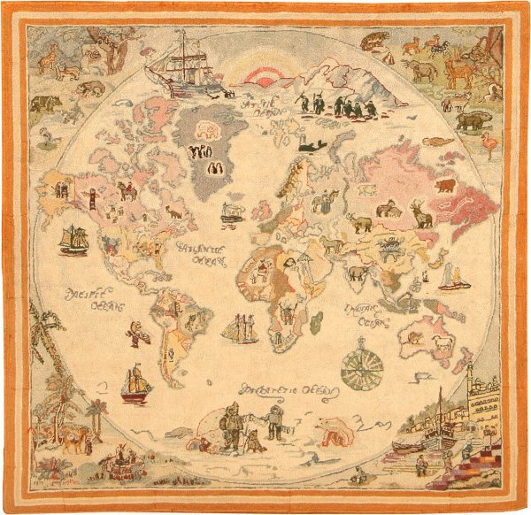 7: Antique Hooked American Rug 42368