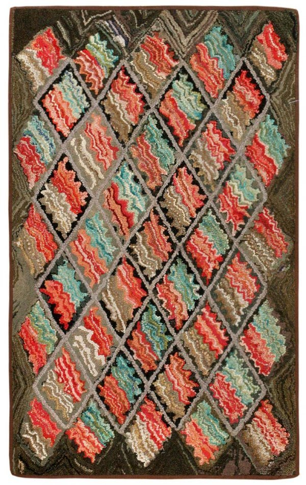 12: Antique Hooked American Rug 2560