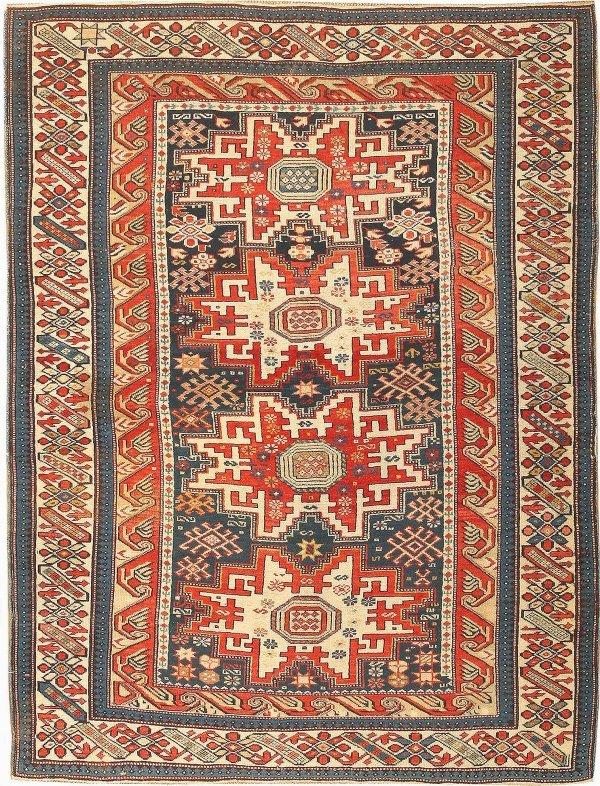 15: Antique Kazak Caucasian Rug 42879
