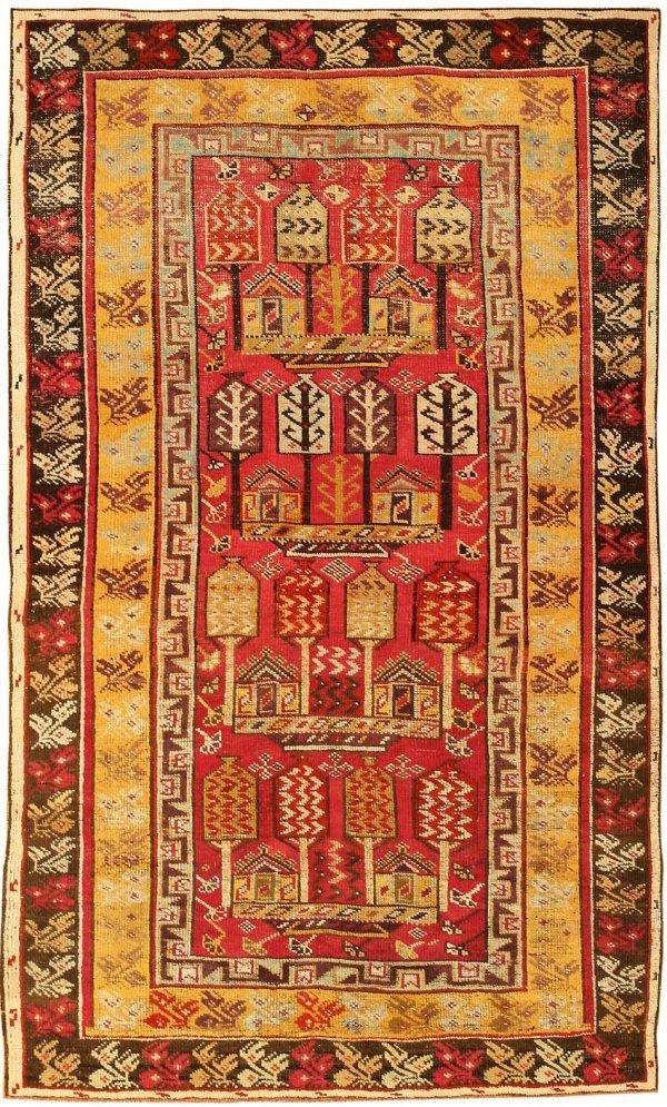 17: Antique Tribal Giordes Turkish Rug 1446