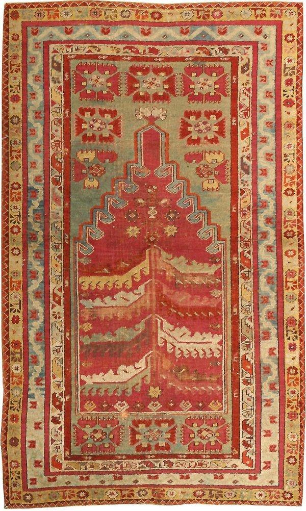 21: Antique Milas Turkish Prayer Rug 2890