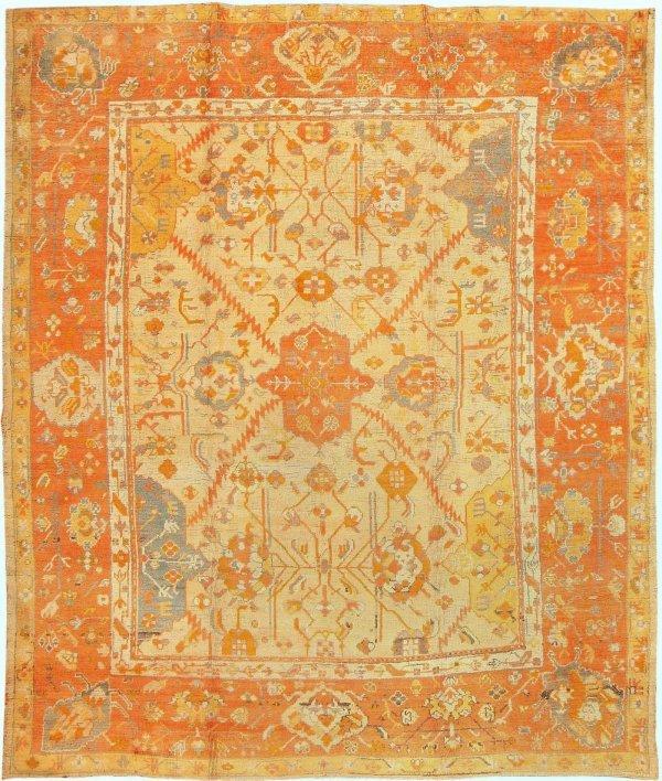 79: Antique Decorative Oushak Carpet 3040