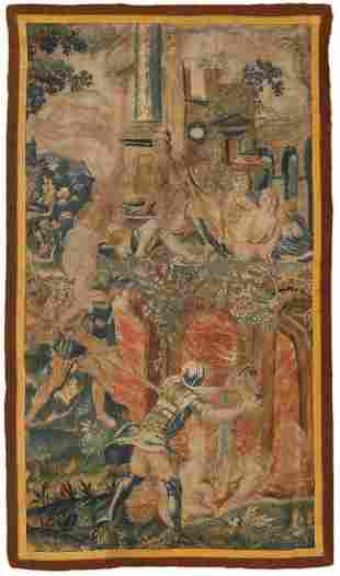 ANTIQUE FRENCH SILK&WOOL TAPESTRY 17TH CENTURY.