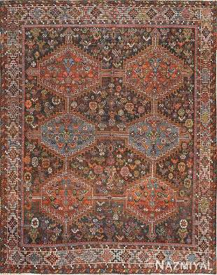 ANTIQUE TRIBAL AFSHAR PERSIAN RUG.