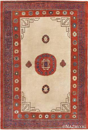 ANTIQUE KHOTAN AREA RUG.