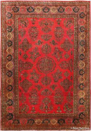 ANTIQUE MANCHESTER WOOL PERSIAN KASHAN RUG