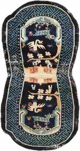 ANTIQUE CHINESE SADDLE RUG. 4 ft 3 in x 2 ft 3 in