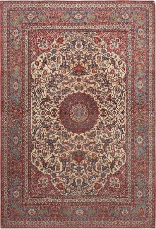 ANTIQUE SILK + WOOL PERSIAN ISFAHAN RUG. 12 ft 1 in x 8