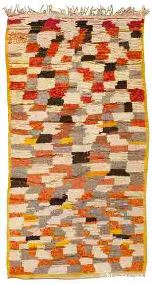 VINTAGE MID CENTURY MOROCCAN RUG. 8 ft 8 in x 4 ft 5 in