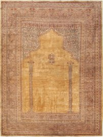 VINTAGE TURKISH HEREKEH SILK PRAYER RUG. 5 ft 5 in x 4