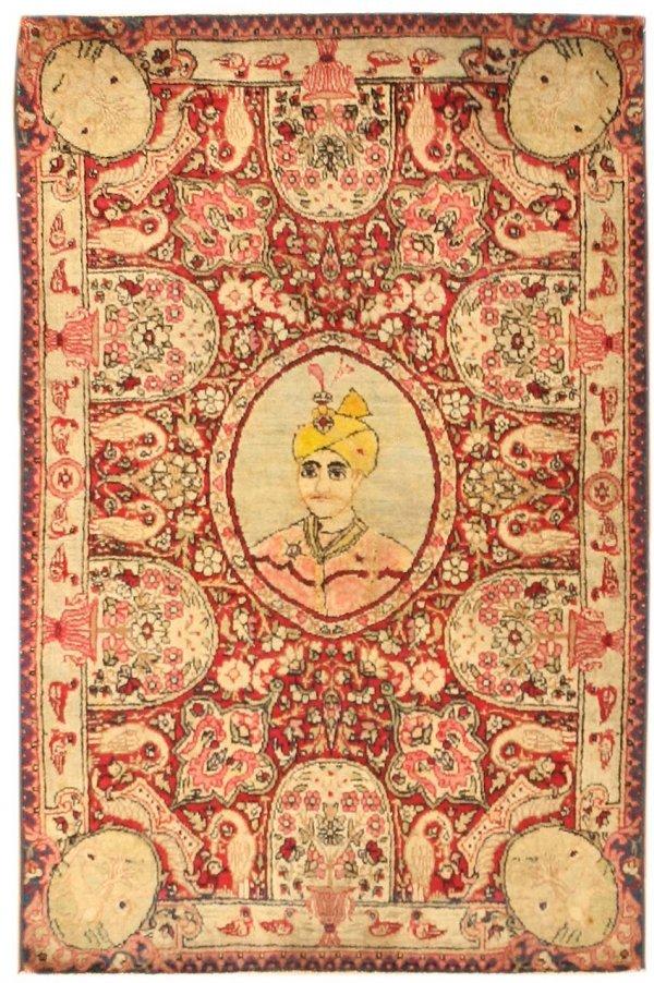 5: Antique Pictorial Kerman Rug - Late 19th Century
