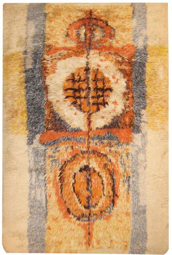 15: Antique Scandinavian Rya Rug , Early 20th century