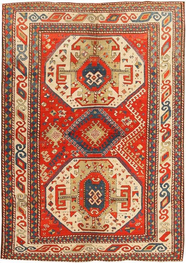 23: Antique Kazak Caucasian Rug - Late 19th Century