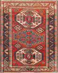 ANTIQUE CAUCASIAN KAZAK RUG. 6 ft 10 in x 5 ft 6 in
