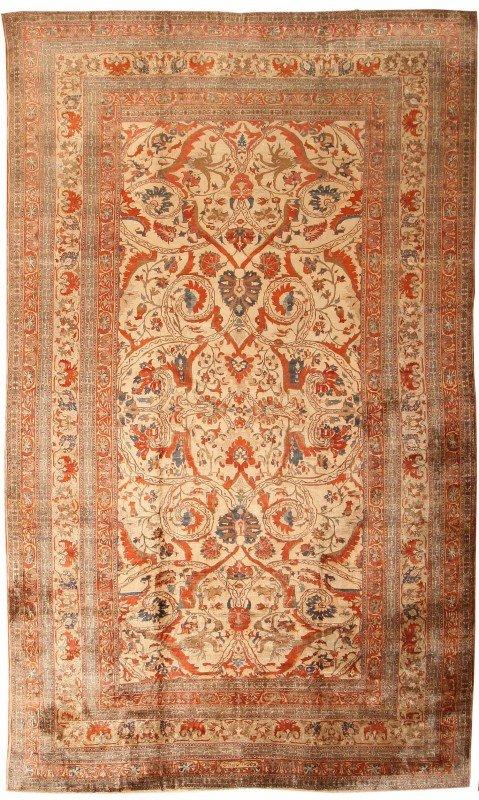 126: Silk Heriz Persian Rug 19th Century