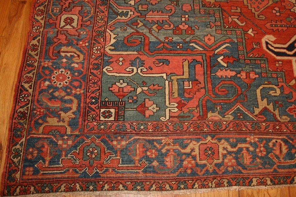 Antique Geometric Persian Heriz Serapi Carpet / Rug - 10