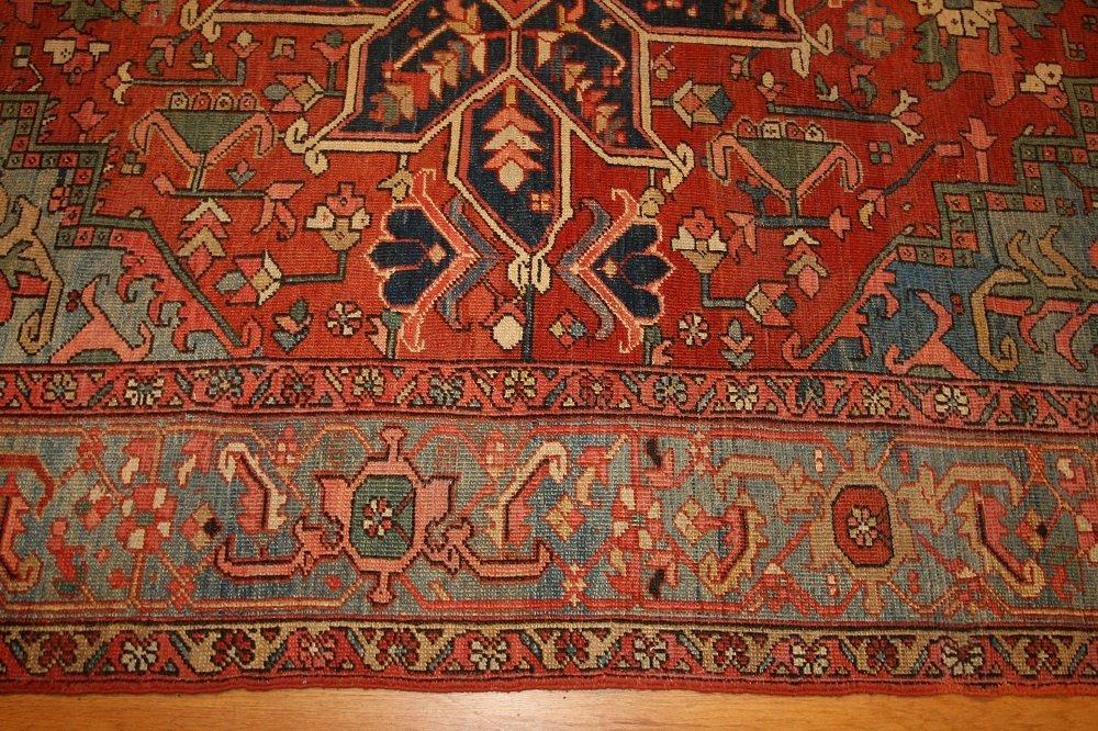 Antique Geometric Persian Heriz Serapi Carpet / Rug - 5