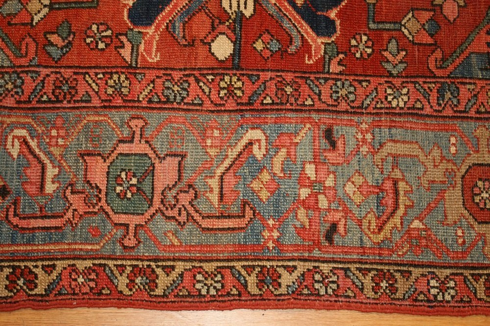 Antique Geometric Persian Heriz Serapi Carpet / Rug - 6