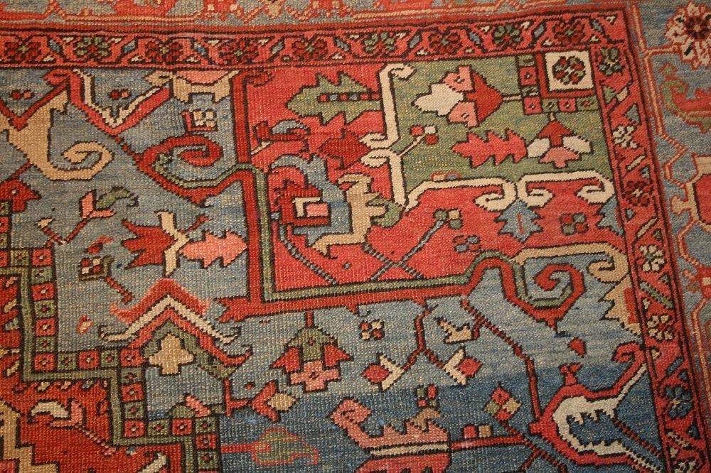 Antique Geometric Persian Heriz Serapi Carpet / Rug - 7