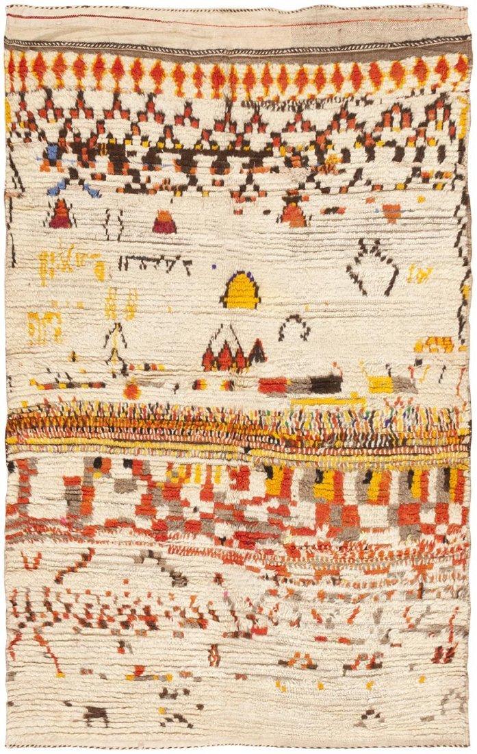 Vintage Mid Century Modern Moroccan Berber Rug Carpet