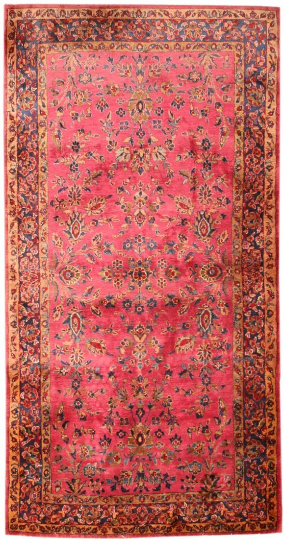 Antique Silk Kashan Persian Rug Scatter Size Carpet