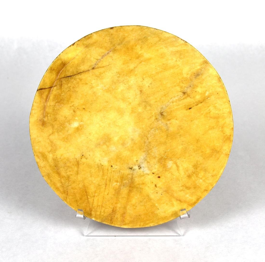 "Old 6 5/8"" Chinese Yellow Jade Bi - 2"