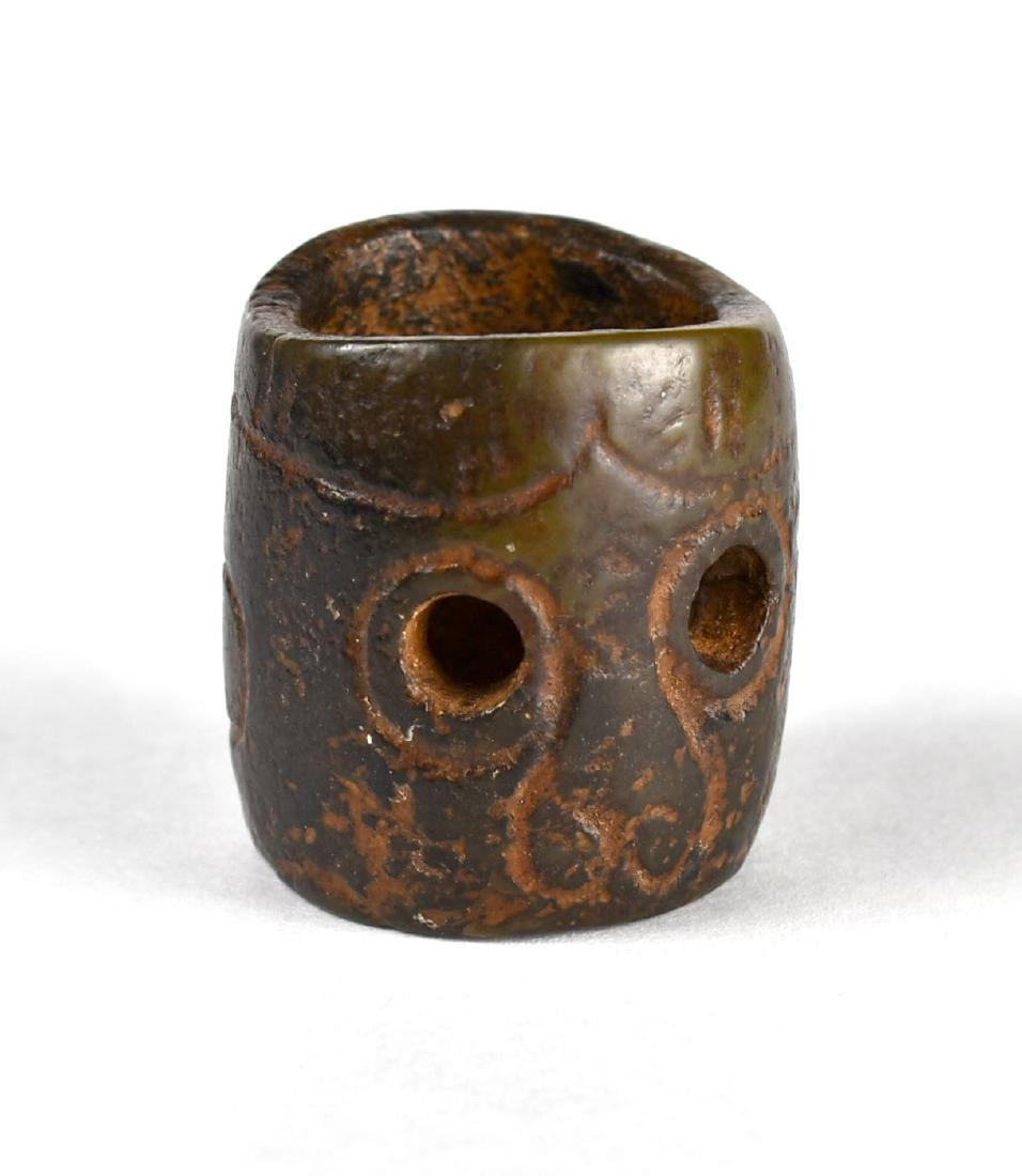 Old Chinese Carved 'Mystical 2 Eye' Archer's Ring