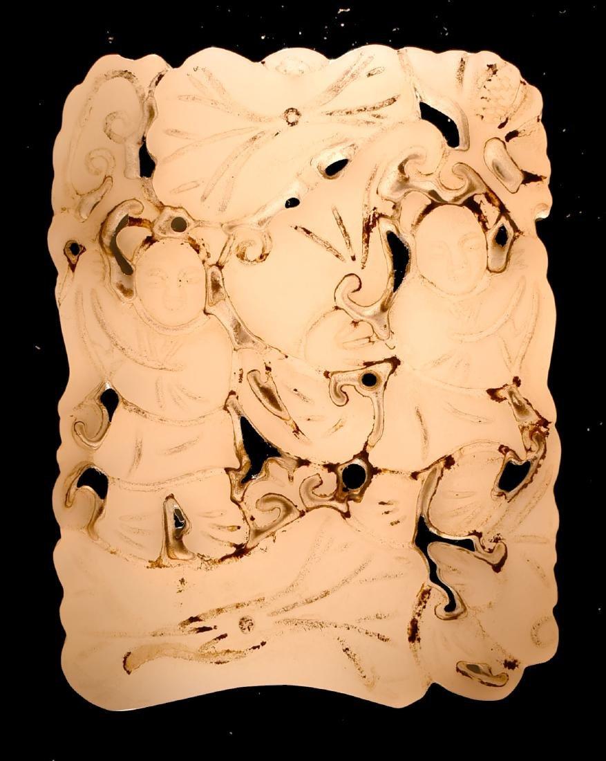 "Antique 2 1/2"" Chinese White Jade Pendant - 3"