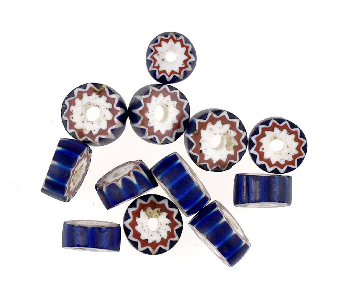 12 Blue Chevron Beads