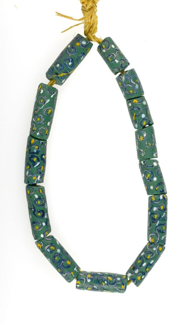 """12"""" Strand of Fancy Green Trade Beads"""