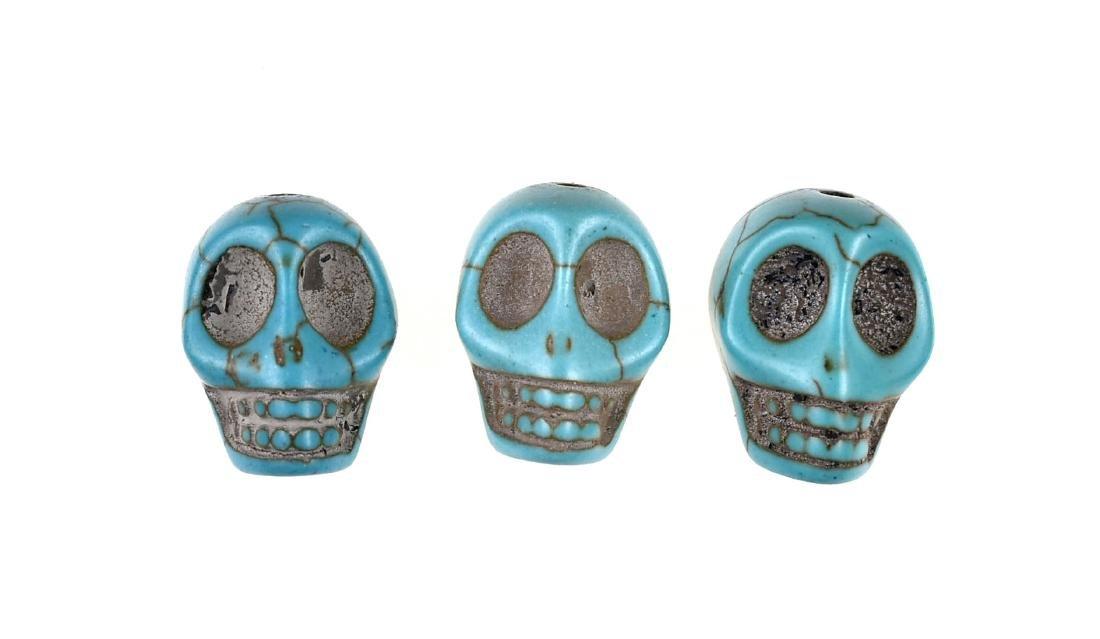 3 Turquoise Skull Beads