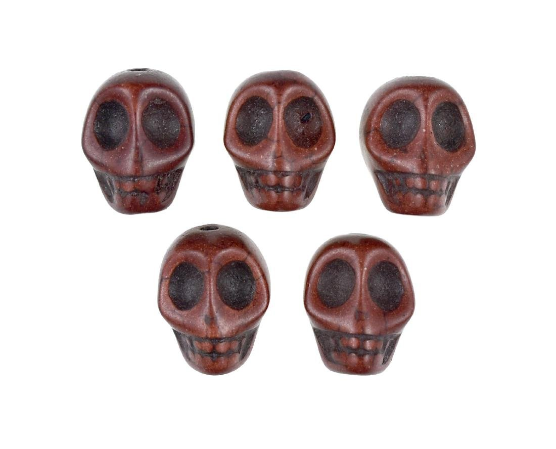 5 Ceramic Skull Beads