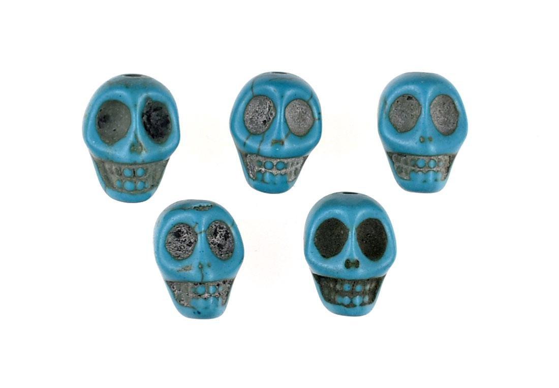 "5 Turquoise 1/2"" Skull Beads"