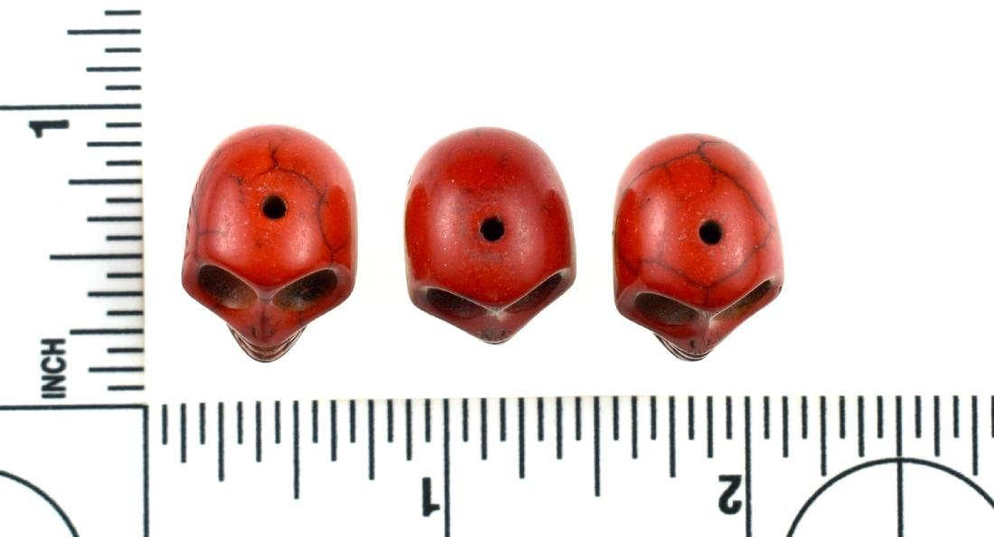 5 Ceramic Skull Beads - 2