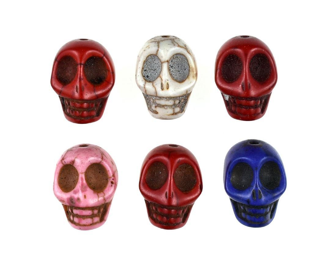 6 Ceramic Skull Beads