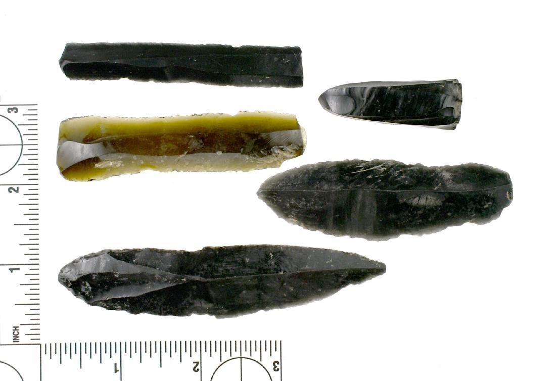 5 PreColumbian Obsidian Flake Tools