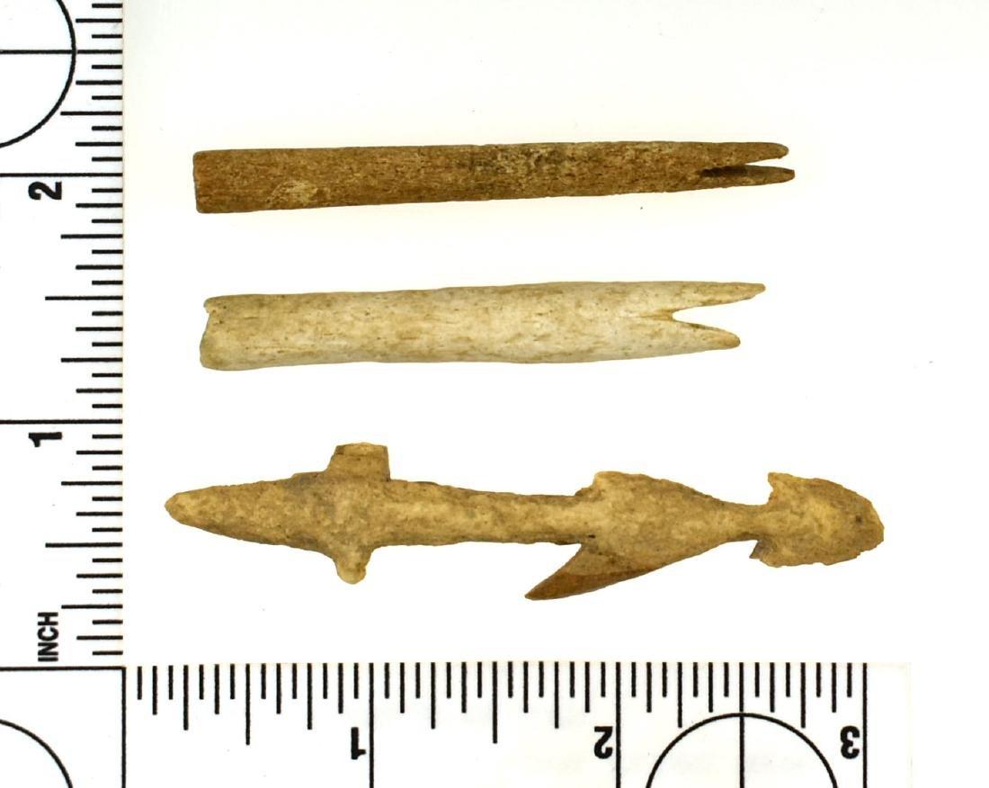 Three Alaskan Bone Harpoon Points