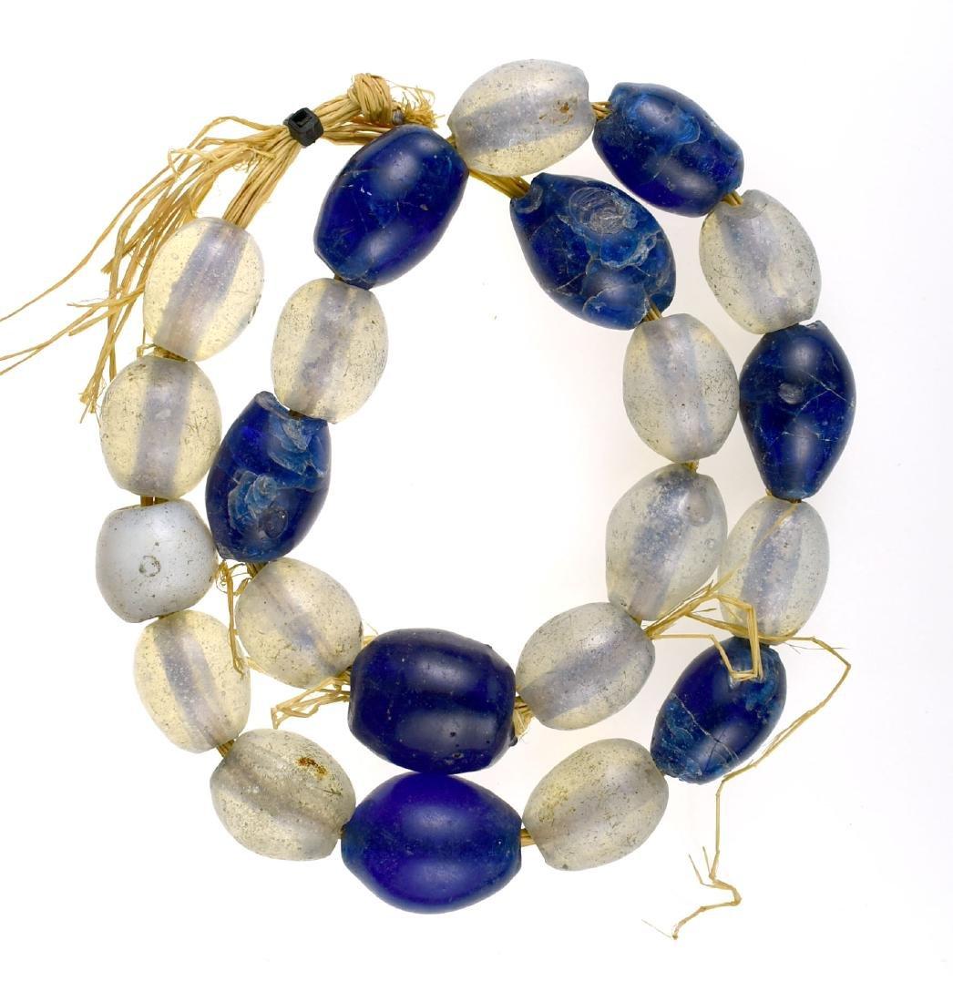 "21"" Vaseline and Cobalt Trade Beads"