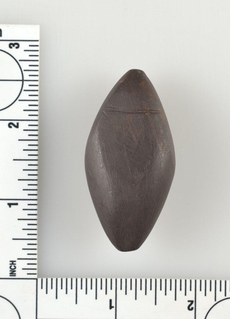 """Unique 2 3/16"""" Half Grooved Hematite Plummet"""