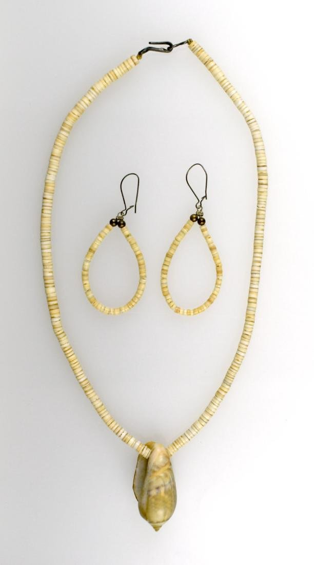 """14"""" Shell Necklace and Earrings"""