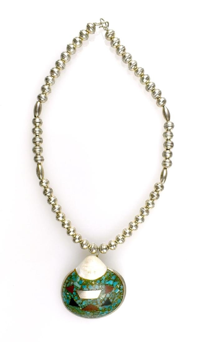 Southwestern Silver & Shell Necklace - 2