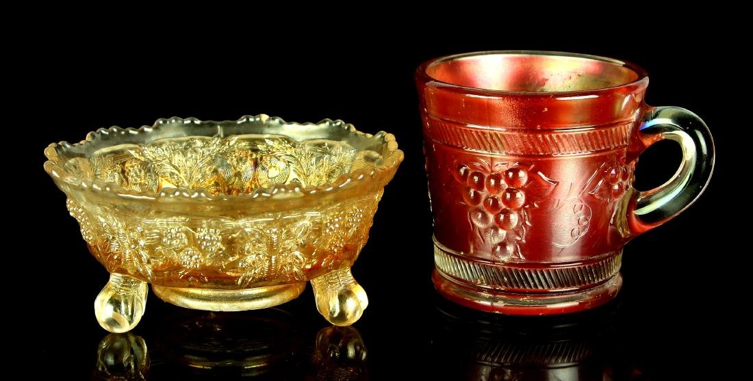 Lot of 2 Fine Pieces of Old Carnival Glass