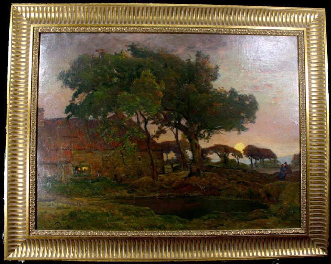Serene Antique French Landscape By Adrian Louis Demont